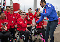 Tottenham and England star Andros Townsend presents trophies to the category winners of the Virgin Giving Mini London Marathon, Sunday 26th April 2015.<br /> <br /> Neil Turner for Virgin Money London Marathon<br /> <br /> For more information please contact Penny Dain at pennyd@london-marathon.co.uk