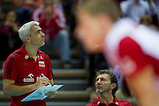 during the 2013 CEV VELUX Volleyball European Championship match between Poland and Turkey at Ergo Arena in Gdansk on September 20, 2013.<br /> <br /> Poland, Gdansk, September 20, 2013<br /> <br /> Picture also available in RAW (NEF) or TIFF format on special request.<br /> <br /> For editorial use only. Any commercial or promotional use requires permission.<br /> <br /> Mandatory credit:<br /> Photo by &copy; Adam Nurkiewicz / Mediasport