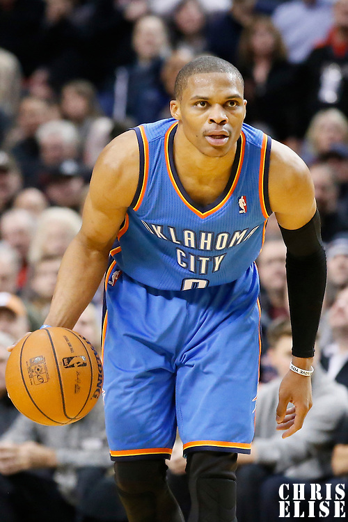 04 December 2013: Oklahoma City Thunder point guard Russell Westbrook (0) is seen during the Portland Trail Blazers 111-104 victory over the Oklahoma City Thunder at the Moda Center, Portland, Oregon, USA.