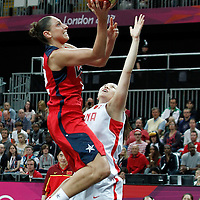 05 August 2012: USA Diana Taurasi goes for the layup during 114-66 Team USA victory over Team China, during the women's basketball preliminary, at the Basketball Arena, in London, Great Britain.