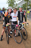 {PrudentialRideLondonSurrey100. Laura Trott with her sister and dad at the start}<br /> Prudential RideLondon, the world's greatest festival of cycling, involving 70,000+ cyclists – from Olympic champions to a free family fun ride - riding in five events over closed roads in London and Surrey over the weekend of 9th and 10th August. <br /> <br /> Photo: Roger Allen for Prudential RideLondon<br /> <br /> See www.PrudentialRideLondon.co.uk for more.<br /> <br /> For further information: Penny Dain 07799 170433<br /> pennyd@ridelondon.co.uk