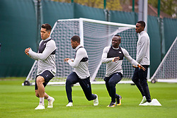 LIVERPOOL, ENGLAND - Monday, April 23, 2018: Liverpool's Roberto Firmino, Georginio Wijnaldum, Sadio Mane and Rafael Camacho during a training session at Melwood Training Ground ahead of the UEFA Champions League Semi-Final 1st Leg match between Liverpool FC and AS Roma. (Pic by David Rawcliffe/Propaganda)