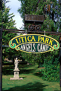 Statue of Mark Twain and Utica Park sign in Angels Camp, Gold Country (Highway 49), California