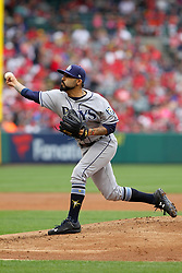 May 20, 2018 - Anaheim, CA, U.S. - ANAHEIM, CA - MAY 20: Sergio Romo (54) of the Rays delivers a pitch to the plate during the major league baseball game between the Tampa Bay Rays and the Los Angeles Angels on May 20, 2018 at Angel Stadium of Anaheim in Anaheim, California.  Romo has now started at pitcher in back to back games for the Rays. (Photo by Cliff Welch/Icon Sportswire) (Credit Image: © Cliff Welch/Icon SMI via ZUMA Press)
