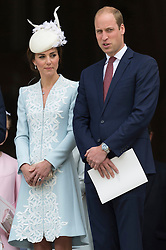 © Licensed to London News Pictures. 10/06/2016.  DUCHESS OF CAMBRIDGE and the DUKE OF CAMBRIDGE attend The National Service of Thanksgiving to mark the 90th Birthday of Queen Elizabeth II at St Paul's Cathedral. London, UK. Photo credit: Ray Tang/LNP