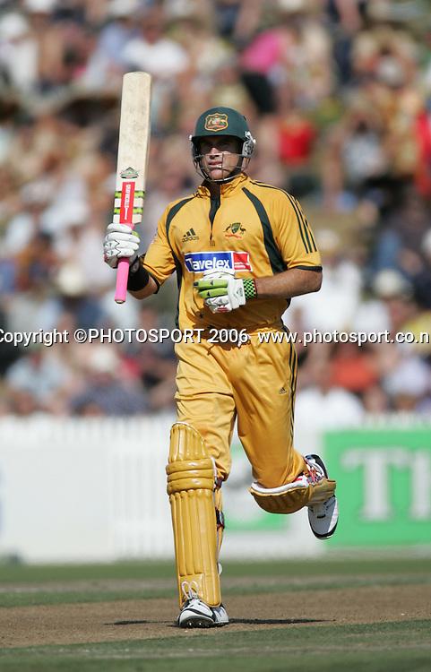 Australian batsman Matthew Hayden celebrates his century during the 3rd Chappell Hadlee one day match at Seddon Park, Hamilton, New Zealand on Tuesday 20 February 2007. Photo: Andrew Cornaga/PHOTOSPORT<br /><br /><br />200207