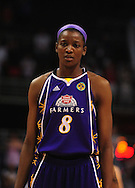 June 4, 2010; Phoenix, AZ, USA; Los Angeles Sparks forward DeLisha Milton-Jones reacts on the court against the Phoenix Mercury during the first half at US Airways Center.  The Mercury defeated the Sparks 90-89.  Mandatory Credit: Jennifer Stewart-US PRESSWIRE