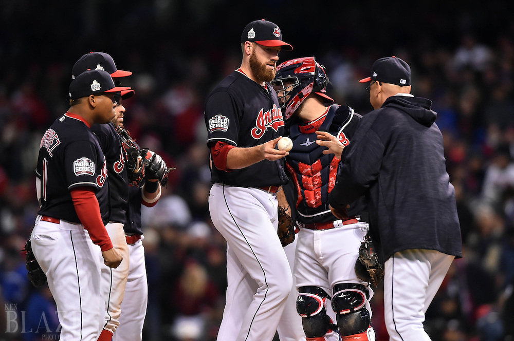 Oct 26, 2016; Cleveland, OH, USA; Cleveland Indians relief pitcher Zach McAllister (middle) is relieved by manager Terry Francona in the 5th inning against the Chicago Cubs in game two of the 2016 World Series at Progressive Field. Mandatory Credit: Ken Blaze-USA TODAY Sports