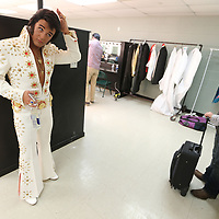 Elvis Tribute Artist Gib Maynard, finishes getting ready backstage at the BancorpSouth Arena before performing in round one of the Ultimate Elvis Tribute Artist Competition Friday morning.
