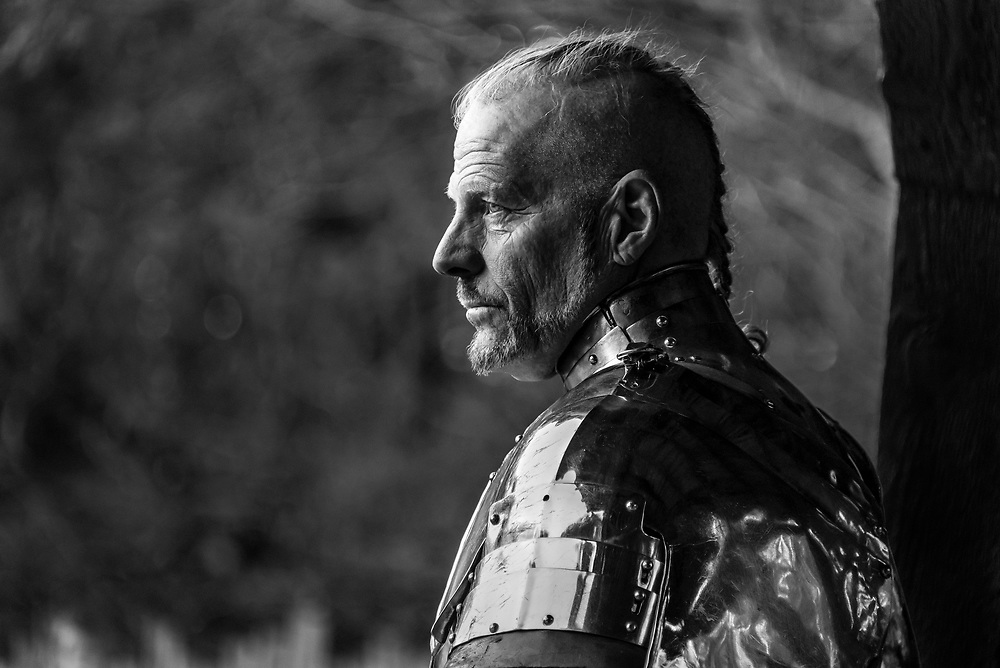 Another dramatic portrait of Sir Mauldon as he prepares to take the field at the Carolina Renaissance Festival.