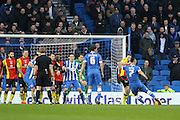 Brighton central midfielder, Beram Kayal (7) shoots at goal from a free kick during the Sky Bet Championship match between Brighton and Hove Albion and Birmingham City at the American Express Community Stadium, Brighton and Hove, England on 28 November 2015. Photo by Phil Duncan.