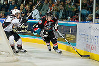 KELOWNA, CANADA, OCTOBER 1: Jesse Lees #2 of the Kelowna Rockets skates against the Vancouver Giants on October 1, 2011 at Prospera Place in Kelowna, British Columbia, Canada (Photo by Marissa Baecker/Getty Images) *** Local Caption ***