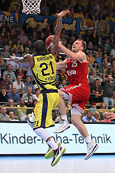 11.10.2014, ENERVIE Arena, Hagen, GER, Beko Basketball BL, Phoenix Hagen vs FC Bayern Muenchen, 4. Runde, im Bild Anton Gavel (FC Bayern Muenchen #25) beim Korbleger gegen Todd Brown (Phoenix Hagen #21) // during the Beko Basketball Bundes league 4th round match between Phoenix Hagen and FC Bayern Muenchen at the ENERVIE Arena in Hagen, Germany on 2014/10/11. EXPA Pictures © 2014, PhotoCredit: EXPA/ Eibner-Pressefoto/ Schueler<br /> <br /> *****ATTENTION - OUT of GER*****