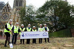 Lincoln Cathedral has appointed William Birch & Sons to begin the vital restoration and renovation works as part of the National Lottery funded Lincoln Cathedral Connected project. Pictured, from left, The Very Reverend Christine Wilson, Dean of Lincoln, William Birch & Sons chairman Chris Birch, The Reverend Canon John Patrick, Subdean, Anne Irving, Lincoln Cathedral Connected programme manager, The Reverend Canon Sal McDougall, Precentor, William Birch & Sons business development manager Gemma Shahjahan and William Birch & Sons site manager Kinsey Hodgson.<br /> <br /> Picture: Chris Vaughan Photography for Lincoln Cathedral<br /> Date: October 4, 2018