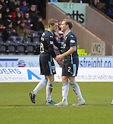 Gary Irvine is congratulated after scoring by Jim McAlister -  St Mirren v Dundee, SPFL Premiership at St Mirren Park <br /> <br /> <br />  - &copy; David Young - www.davidyoungphoto.co.uk - email: davidyoungphoto@gmail.com