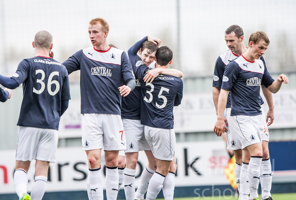 Falkirk's Blair Alston celebrates after scoring their second goal.<br /> half time : Falkirk v Cowdenbeath, Scottish Championship game played today at The Falkirk Stadium.<br /> &copy; Michael Schofield.