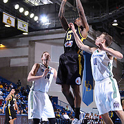 Delaware 87ers Guard Sean Kilpatrick (10) drives towards the basket as Reno Bighorns Guard David Stockton (11) defends in the first half of a NBA D-league regular season basketball game between the Delaware 87ers and the Reno Bighorns (Sacramento Kings), Tuesday, Feb. 10, 2015 at The Bob Carpenter Sports Convocation Center in Newark, DEL