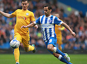 Brighton striker Sam Baldock takes on Preston North End defender Marnick Vermijl during the Sky Bet Championship match between Brighton and Hove Albion and Preston North End at the American Express Community Stadium, Brighton and Hove, England on 24 October 2015. Photo by Bennett Dean.