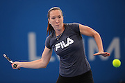 Brisbane, Australia, December 30: Jelena Jankovic of Serbia plays a forehand shot during a training session at Pat Rafter Arena ahead of the 2012 Brisbane International Tennis Tournament in Brisbane, Australia on Friday December 30th, 2011. (Photo: Matt Roberts/Photo News)