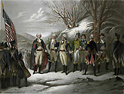 Revolutionary War 1775-1783 (American War of Independence): George Washington, left, with other officers including De Kalb, Von Steuben, Pulaski, Kosciouszko, Lafayette and Muhlenberg.  Coloured print after Frederick Girsch (1821-1895).