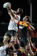 Sharks' Alistair Hargreaves wins a lineout against Chiefs' Craig Clarke. Super 15 rugby union match, Chiefs v Sharks at Waikato Stadium, Hamilton, New Zealand. Friday 18th March 2011. Photo: Anthony Au-Yeung / photosport.co.nz