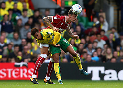 Aden Flint of Bristol City beats Josh Murphy of Norwich City to a header - Mandatory by-line: Robbie Stephenson/JMP - 23/09/2017 - FOOTBALL - Carrow Road - Norwich, England - Norwich City v Bristol City - Sky Bet Championship