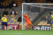 Maidenhead United goalkeeper Carl Pentney makes a save during the The FA Cup match between Port Vale and Maidenhead United at Vale Park, Burslem, England on 8 November 2015. Photo by Jemma Phillips.