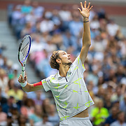 2019 US Open Tennis Tournament- Day Fourteen.  Danill Medvedev of Russia serving during his match against Rafael Nadal of Spain in the Men's Singles Final on Arthur Ashe Stadium during the 2019 US Open Tennis Tournament at the USTA Billie Jean King National Tennis Center on September 8th, 2019 in Flushing, Queens, New York City.  (Photo by Tim Clayton/Corbis via Getty Images)