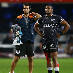 DURBAN, SOUTH AFRICA - JUNE 13: DR Alan Kourie   with S'bura Sithole of the Cell C Sharks during the Super Rugby match between Cell C Sharks and DHL Stormers at Growthpoint Kings Park on June 13, 2015 in Durban, South Africa. (Photo by Steve Haag/Gallo Images)