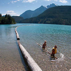 Kids at Diablo Lake, North Cascades National Park, Washington, US