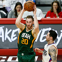 25 April 2017: Utah Jazz forward Gordon Hayward (20) passes the ball over LA Clippers guard JJ Redick (4) during the Utah Jazz 96-92 victory over the Los Angeles Clippers, during game 5 of the first round of the Western Conference playoffs, at the Staples Center, Los Angeles, California, USA.