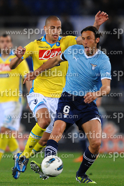 07.04.2012, Olympiastadion, Rom, ITA, Serie A, Lazio Rom vs SSC Neapel, 31. Spieltag, im Bild Gokhan Inler Napoli, Stefano Mauri Lazio // during the football match of Italian 'Serie A' league, 31th round, between Lazio Rom and SSC Neapel at Olympic Stadium, Rome, Italy on 2012/04/07. EXPA Pictures © 2012, PhotoCredit: EXPA/ Insidefoto/ Andrea Staccioli..***** ATTENTION - for AUT, SLO, CRO, SRB, SUI and SWE only *****