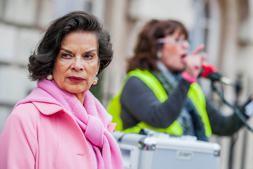 """Bianca Jagger (pictured in pink), Chair of the Bianca Jagger Human Rights Foundation, joined mothers and children at a Mothers Against Fracking rally on Mother's Day.  In a statement, Bianca Jagger said: """"As a mother, a grandmother and soon to be a great grandmother, I am deeply concerned about the impact fracking will have on our way of life. Our environment, our water sources, the air and the land are precious resources which we must conserve if we are to leave a habitable world to future generations. Prime Minister Cameron, I urge you to stop endorsing this hazardous technology. It will be a betrayal of our children, our grandchildren and great grandchildren."""" (On Monday 31st March at 3pm, Mothers Against Fracking will form the 17th group  to hand deliver a letter of protest to David Cameron at 10 Downing Street as part of the Walk the Walk campaign). Old Palace Yard near the House of Lords in Westminster, London, UK, 30th March 2014. Guy Bell, 07771 786236, guy@gbphotos.com"""