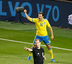 15.10.2013, Friends Arena, Stockholm, SWE, FIFA WM Qualifikation, Schweden vs Deutschland, Gruppe C, im Bild Sverige 14 Tobias Hys�n Hysen celebrate 1-0<br />  // during the FIFA World Cup Qualifier Group C Match between Sweden and Germany at the Friends Arena, Stockholm, Sweden on 2013/10/15. EXPA Pictures � 2013, PhotoCredit: EXPA/ PicAgency Skycam/ Sami Grahn<br /> <br /> ***** ATTENTION - OUT OF SWE *****