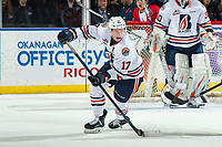 KELOWNA, BC - MARCH 09:  Brodi Stuart #17 of the Kamloops Blazers skates with the puck against the Kelowna Rockets at Prospera Place on March 9, 2019 in Kelowna, Canada. (Photo by Marissa Baecker/Getty Images)
