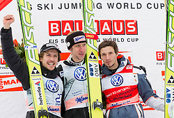 Second placed AMMANN Simon( SUI), winner KOCH Martin (AUT) and third placed KRANJEC Robert (SLO) at flower ceremony after the First Round of Flying Hill Individual competition at 4th day of FIS Ski Jumping World Cup Finals Planica 2012, on March 18, 2012, Planica, Slovenia. (Photo by Vid Ponikvar / Sportida.com)