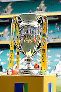 The Aviva Premiership trophy seen during the Aviva Premiership final at Twickenham Stadium, Twickenham<br /> Picture by Andrew Tobin/Focus Images Ltd +44 7710 761829<br /> 31/05/2014