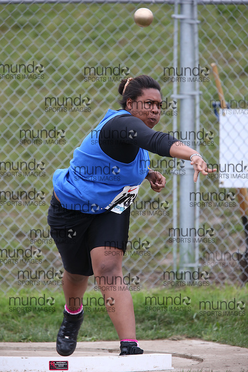 Marsha Joseph of Loretto College - Toronto competes in the midget girls shot put at the 2013 OFSAA Track and Field Championship in Oshawa Ontario, Thursday,  June 6, 2013.<br /> Mundo Sport Images / Sean Burges