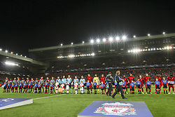 October 24, 2018 - Liverpool, England, United Kingdom - Crvena Zvezda team and Liverpool team pose in order to be photographed before the Uefa Champions League Group Stage football match n.3 LIVERPOOL - CRVENA ZVEZDA on 24/10/2018 at the Anfield Road in Liverpool, England. (Credit Image: © Matteo Bottanelli/NurPhoto via ZUMA Press)