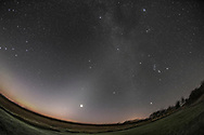 Venus shines brightly, and nearly at its brightest at magnitude -4.7, in the dawn sky on a very frosty morning at 5 am, on September 17, 2015, from home in southern Alberta.<br /> <br /> Venus appears amid the faint glow of the Zodiacal Light, sometimes called the &ldquo;False Dawn,&rdquo; stretching vertically from the dawn horizon in the east, up and to the right, and reaching the Milky Way that runs down the frame from top centre to bottom right. Orion and the winter stars shine in the Milky Way, with Sirius above the trees at lower right. The Beehive Cluster, M44, appears as the small group of stars above Venus. The Pleiades, M45, is at top right. Mars is the brightest object left of Venus, with the bright star Regulus just below it and rising in the east. The stars of the Big Dipper are at far left at the edge of the frame. The sky is beginning to brighten with the real glow of morning. <br /> <br /> This is a stack of 4 x 2-minute exposures, tracked and mean combine stacked, for the sky and 2 x 2-minute exposures, untracked and stacked, for the ground to minimize blurring in the starlit ground. The Canon 6D was on the iOptron Sky-Tracker, shooting at ISO 1250 with the 15mm full-frame fish-eye lens at f/3.5. The stacking with a mean combine stack mode smooths noise in both sky and ground. This version of the image has been processed to make the view better resemble what you see with the unaided eye, in a largely monochrome and softer view than the colourful and high-contrast views commonly presented in astrophotos. Even at that there is more fine structure present in the Milky Way than the unaided eye usually sees, though binoculars beging to reveal that smaller detail. I have left some colours in some stars and in the foreground of landscape scenes.