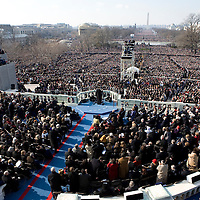 President Barack Obama delivers his Inaugural address after being sworn in as the 44th President of the United States of America. US Capitol, Washington, DC. 1/20/09. Photo by Lisa Quinones/Black Star.