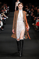 Annika Krijt (The Society) walks the runway wearing Altuzarra Fall 2015 during Mercedes-Benz Fashion Week in New York on February 14, 2015
