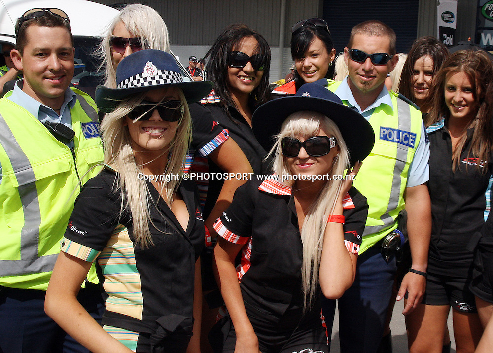 Police and Grid girls.<br />