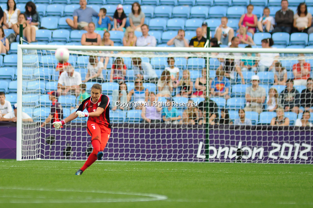 25.07.2012 Coventry, England. Roxanne BARKER (South Africa) takes a goal kick during the Olympic Football Women's Preliminary game between Sweden and South Africa from the City of Coventry Stadium