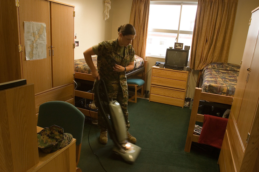Marines at  Camp Schwab  general shots on base and  during clean up  in housing units barracks