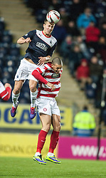 Falkirk's Will Vaulks over Hamilton's Mickeal Antoine-Curier.<br /> Falkirk 0 v 0 Hamilton, Scottish Championship game at The Falkirk Stadium. &copy; Michael Schofield 2014.