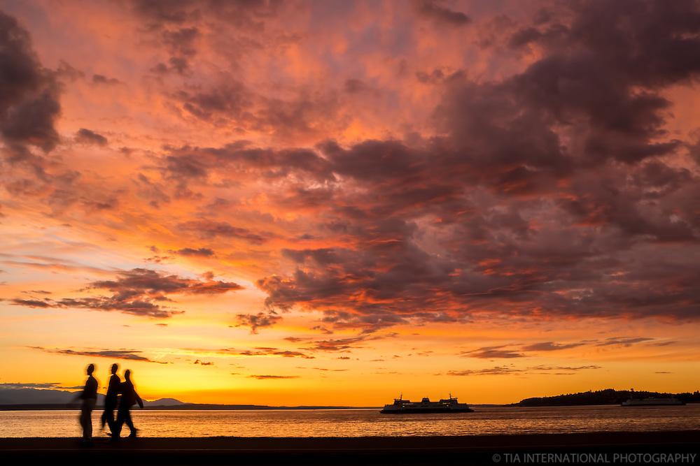 Sunset on Alki Beach, Seattle, Washington