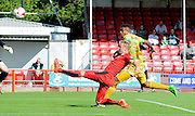 Lee Barnard goes close for Crawley with the stretched effort during the Sky Bet League 2 match between Crawley Town and Yeovil Town at the Checkatrade.com Stadium, Crawley, England on 19 September 2015. Photo by Michael Hulf.