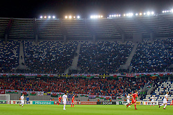 TBILSI, GEORGIA - Friday, October 6, 2017: Wales supporters during the 2018 FIFA World Cup Qualifying Group D match between Georgia and Wales at the Boris Paichadze Dinamo Arena. (Pic by David Rawcliffe/Propaganda)