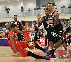 Bristol Flyers' Dwayne Lautier-Ogunleye is fouled - Photo mandatory by-line: Dougie Allward/JMP - Mobile: 07966 386802 - 10/01/2015 - SPORT - basketball - Bristol - SGS Wise Campus - Bristol Flyers v Leicester Riders - British Basketball League